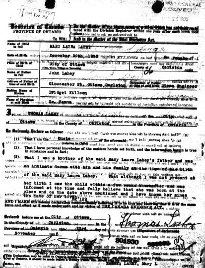 Delayed Registration of Birth for Mary Laura Lahey, database, Ancestry.ca (http://www.ancestry.ca/: accessed 19 May 2010), Ontario, Canada Births, 1869-1909