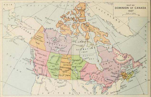 map dominionof canada 1927