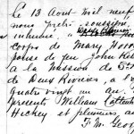 Burial record for Mary Hourigan, widow of John Kelly.