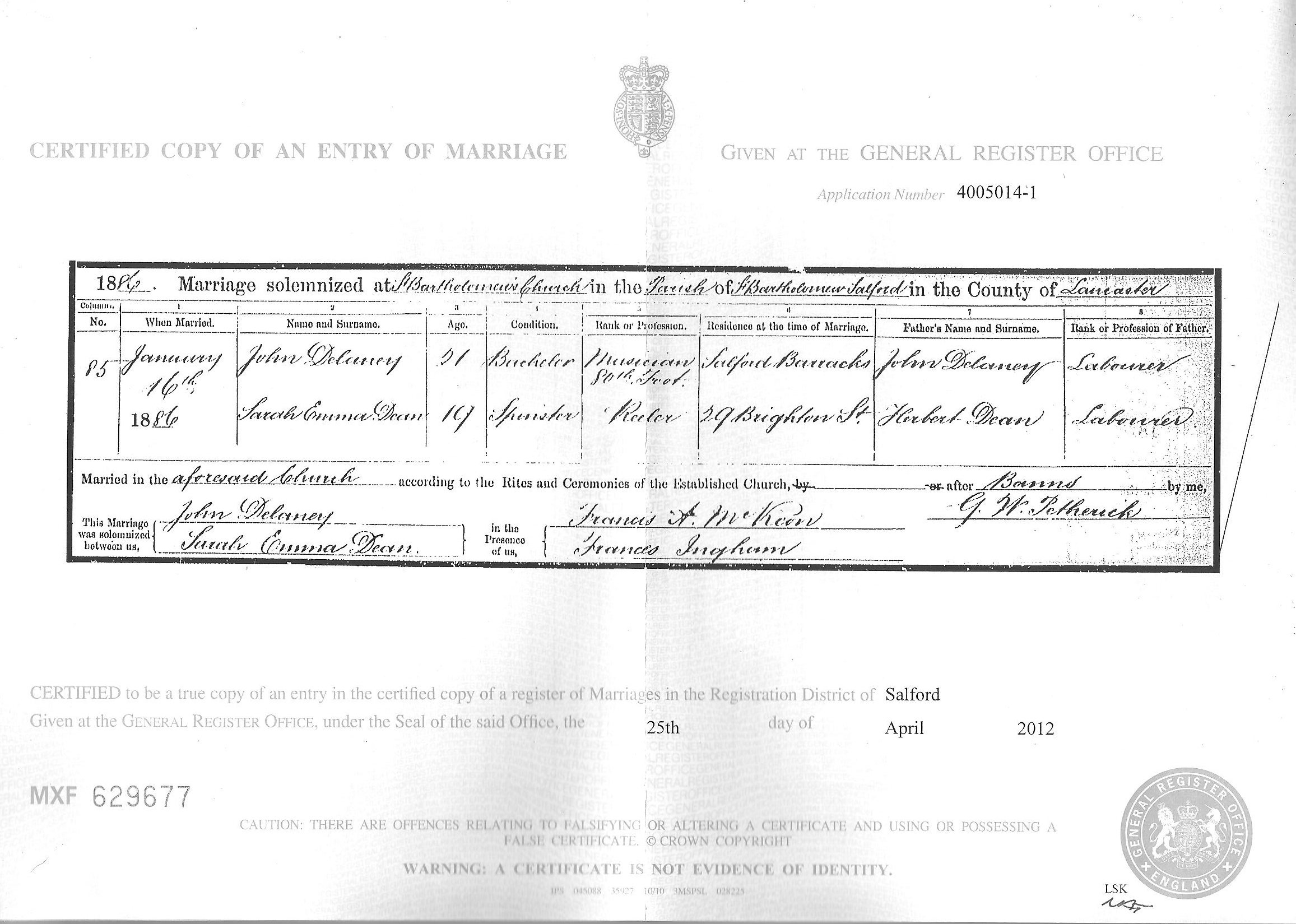 A Marriage Certificate John Delaney And Emma Dean Ottawa Valley