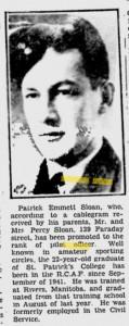 Patrick Emmett Sloan, Ottawa Citizen, 10 February 1943