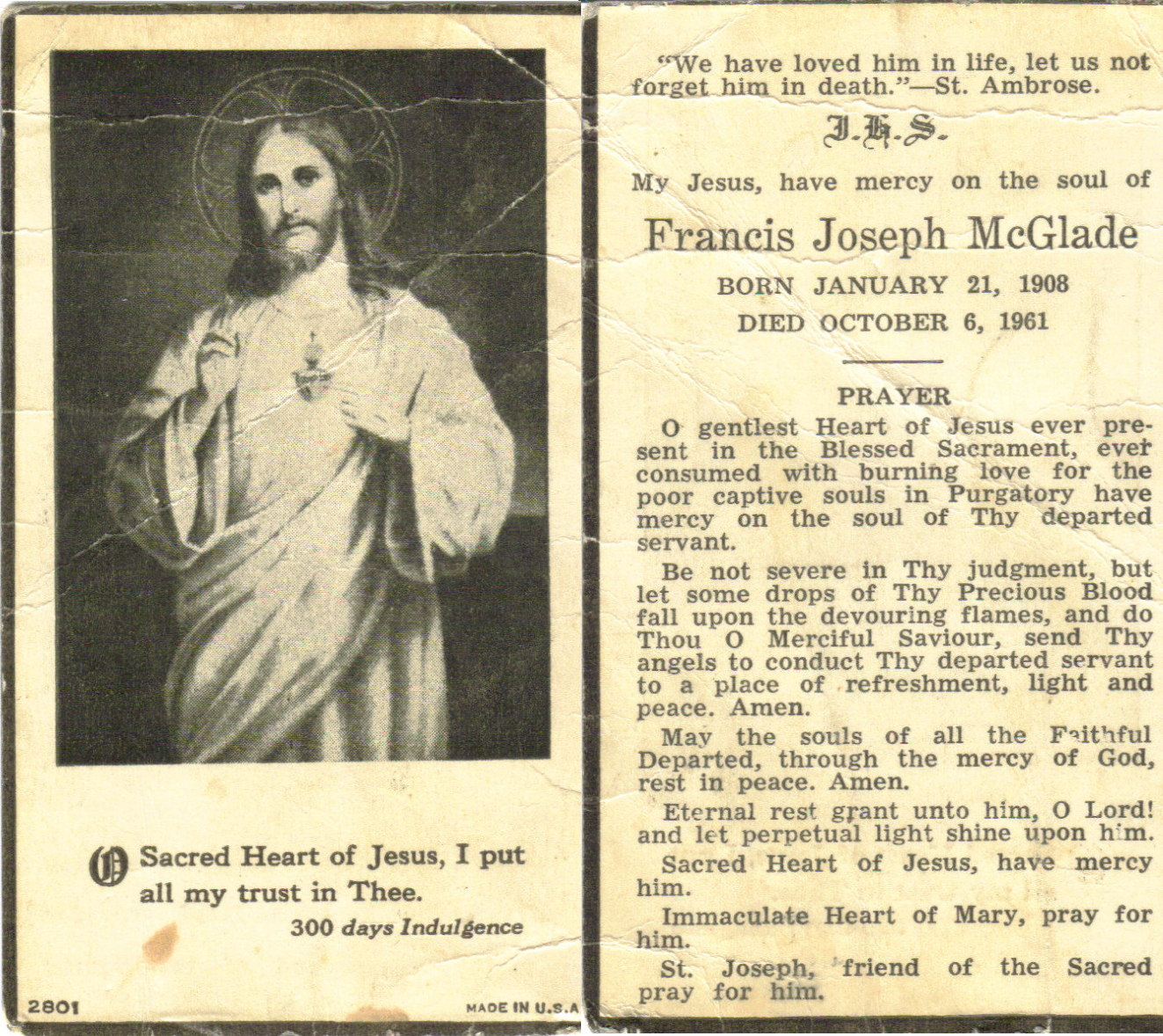 Funeral Prayer Cards – Ottawa Valley Irish