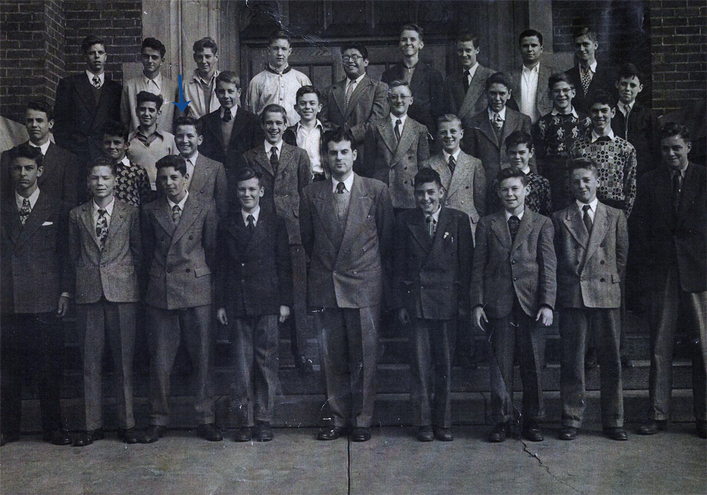 John Alexander Moran (1934-2013) in a group (presumably school) photo. Late 1940s?