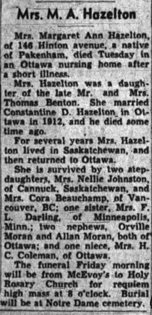 Obituary/death notice for Margaret Anne Benton, The Ottawa Journal, 9 July 1952