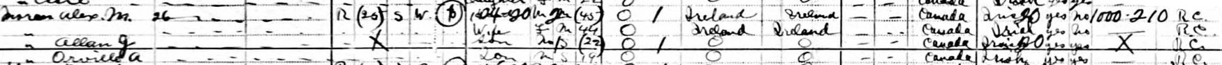 Alexander Moran household, 1921 census of Canada, Ontario, Ottawa St Georges Ward, p. 3, lines 33-36.