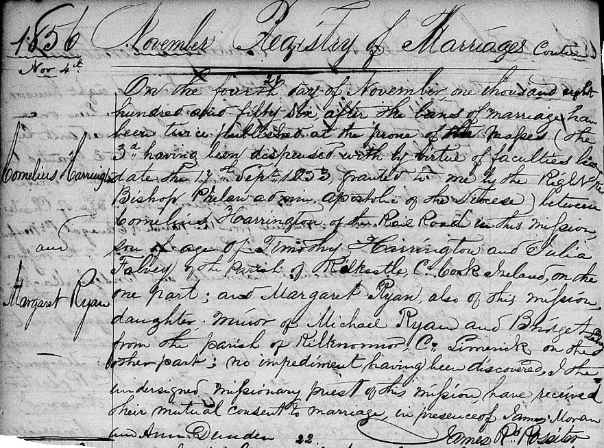 Marriage of Cornelius Harrington and Margaret Ryan, 4 November 1856