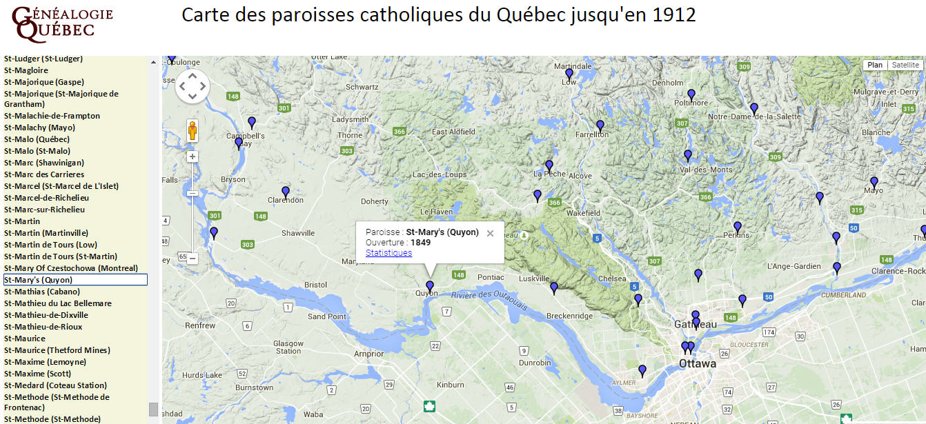 carte paroisses catholiques quebec zoom in