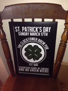 Paddy's Day brew pub sign