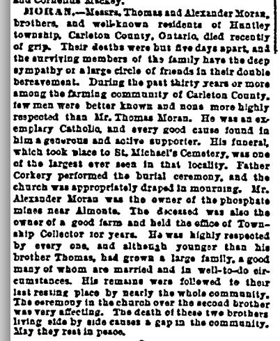 Irish World, 13 February 1892, p. 5. Death and burial of Thomas and Alexander Moran.